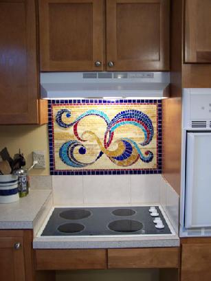 Kitchen Backsplash stained glass, mirrored glass, van gogh glass